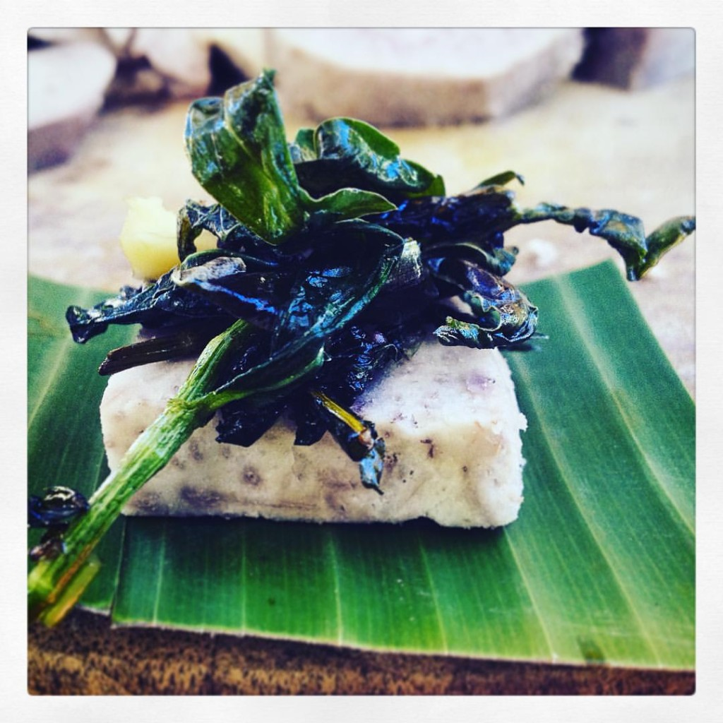 100% local pūpū. steamed taro with sauteed honohono grass (Commelina difussa) and Erechtites valerianifolius greens using mac nut oil, salt & pepper.