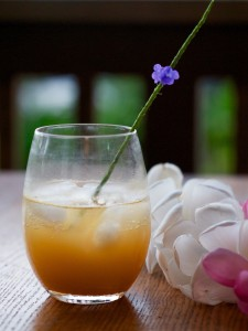 Kiawe nectar, lilikoi, Maui rum, fizzy water. Garnished with a Jamaican vervain flower spike. Photo by Sunny Savage